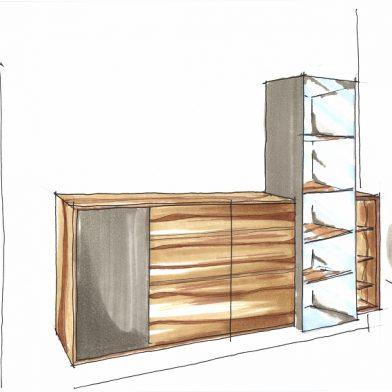 Wohnwand Nußbaum - Entwurf / Skizze